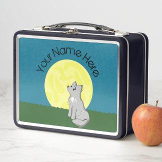 Niedlicher kundenspezifischer schäbiger Wolf mit Metall Lunch Box