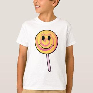 Niedlicher lächelnder gelber Cartoon-Lutscher T-Shirt