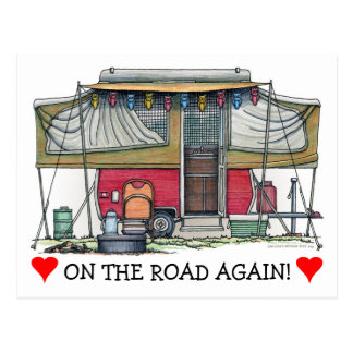 Niedlicher Lagerbewohner-Reise-Anhänger RV Postkarten