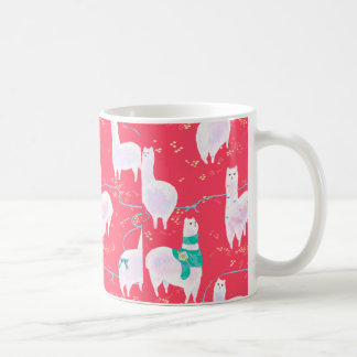 Niedlicher Lamas Peru-Illustrationsrothintergrund Kaffeetasse
