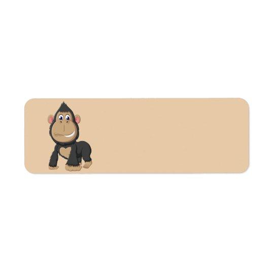 Niedlicher lebhafter Gorilla Kleiner Adressaufkleber