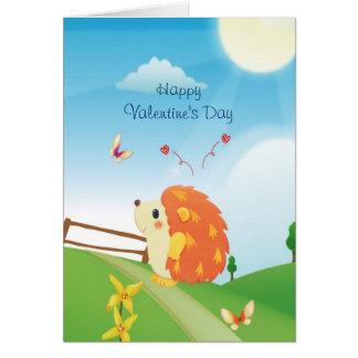 Niedlicher Liebe-Igel mit Schmetterlings-sonnigem Karte