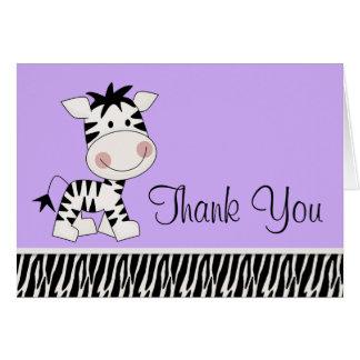 Niedlicher lila Zebra danken Ihnen Karten