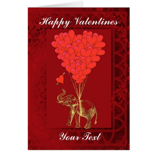 Niedlicher lustiger Elefant und Herz, Valentines Karte