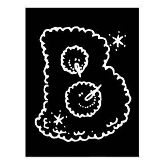 Niedlicher lustiger Schneeball stellt Monogramm Postkarte
