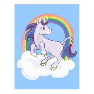 Niedlicher magischer RegenbogenUnicorn Postkarte