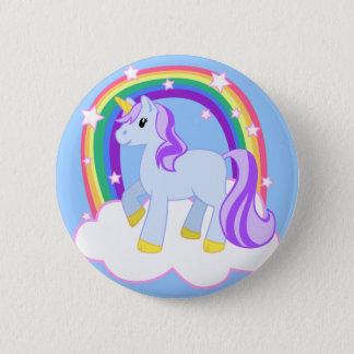 Niedlicher magischer Unicorn mit dem Regenbogen Runder Button 5,7 Cm