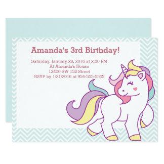 Niedlicher magischer Unicorn Pastell-MÄDCHEN 12,7 X 17,8 Cm Einladungskarte