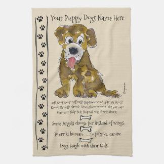 Niedlicher Mischzucht-Cartoon-Hund zitiert Geschirrtuch