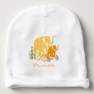 Niedlicher Namenselefant-Safari-Blumen-Garten Babymütze
