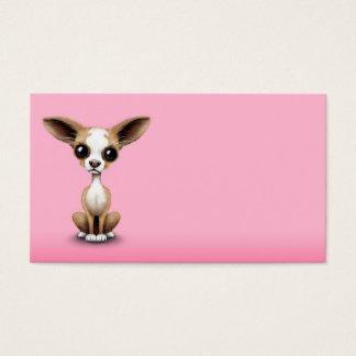 Niedlicher neugieriger Chihuahua mit den großen Visitenkarte