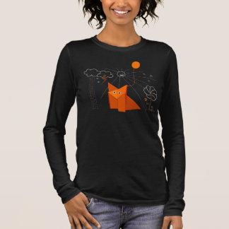 Niedlicher Origami Fox ist glückliche dunkle Langarm T-Shirt