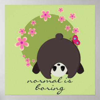 Niedlicher Panda-Rosa-BlumenNormal bohrt Poster