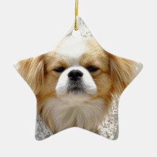 Niedlicher Pekingese Hund Keramik Ornament