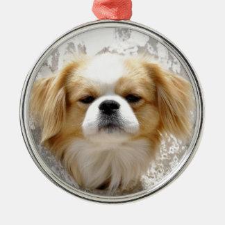 Niedlicher Pekingese Hund Silbernes Ornament