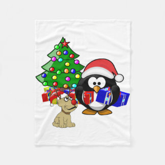 Niedlicher Penguin Sankt und Ren-Hund Fleecedecke