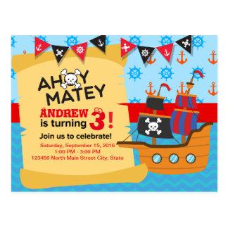 Niedlicher Piratenschiffs-Flagge Babyjunge Postkarte