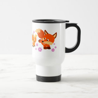 Niedlicher Playful Cartoon Foxes Pendler-Tasse Reisebecher