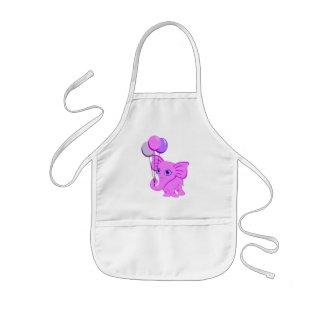 Niedlicher rosa Baby-Elefant, der glänzende Kinderschürze