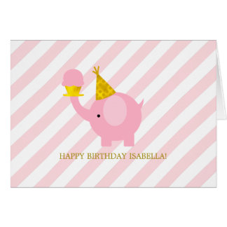 Niedlicher rosa Elefant-Geburtstag Karte