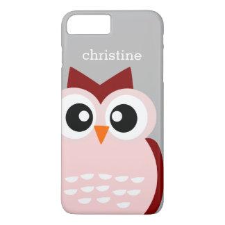 Niedlicher rosa Eulen-Vogel auf starke iPhone 7 iPhone 8 Plus/7 Plus Hülle