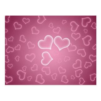 Niedlicher rosa Herz-Hintergrund Postkarte
