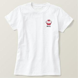 Niedlicher rosa Kuchen-personalisiertes gesticktes Besticktes T-Shirt