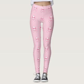 Niedlicher rosa Schädel und gekreuzte Knochen Leggings