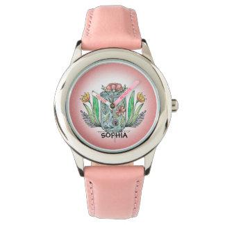 Niedlicher rosa Vase der Uhr des Blumen-Kindes