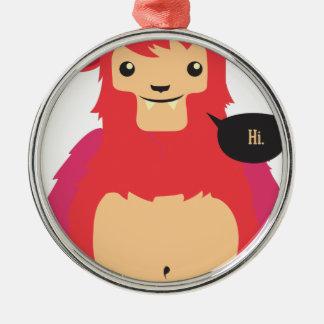 niedlicher roter Kuhentwurf Silbernes Ornament