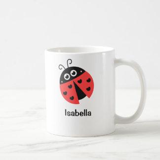 Niedlicher roter und schwarzer Marienkäfer mit Kaffeetasse