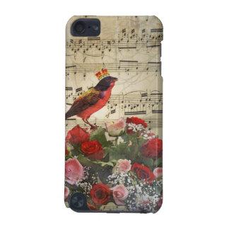 Niedlicher roter Vogel u. Vintages Musikblatt iPod Touch 5G Hülle