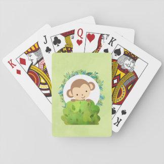 Niedlicher Safari-Affe mit tropischem Blätter Spielkarten