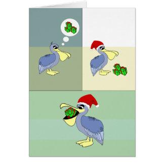 Niedlicher Sankt-Pelikan isst Geschenk-Weihnachten Karte