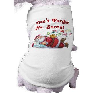Niedlicher Sankt-WeihnachtshundeT - Shirt Ärmelfreies Hunde-Shirt