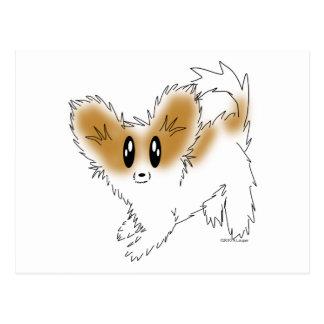 Niedlicher schäbiger Papillon Welpen-Hund Postkarte