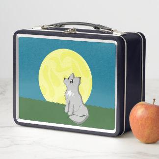Niedlicher schäbiger Wolf mit Metall Lunch Box