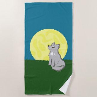 Niedlicher schäbiger Wolf mit Mond-Strand Towl Strandtuch