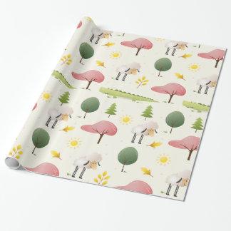 Niedlicher Schafgrünalligator und Baumkinder Geschenkpapier