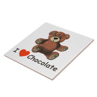Niedlicher Schokoladeteddy-Bär i-Herz-(Liebe) Keramikfliese
