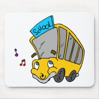 Niedlicher Schulbus, der glückliches Gesicht Mauspads