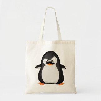 Niedlicher Schwarz-weißer Penguin und lustiger Sch Leinentasche