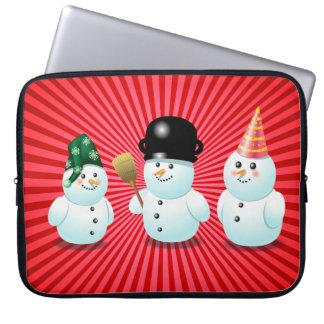 Niedlicher Snowman-Familien-Cartoon Laptop Sleeve