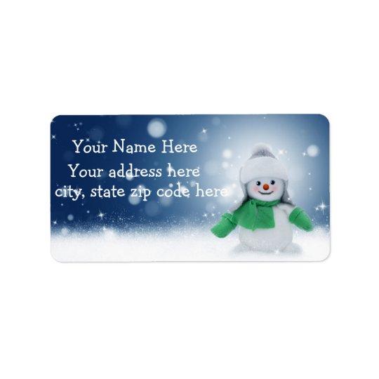 Niedlicher Snowman-personalisierte Adress Aufkleber