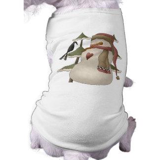 Niedlicher Snowman-und Krähen-WeihnachtsHundeshirt Ärmelfreies Hunde-Shirt