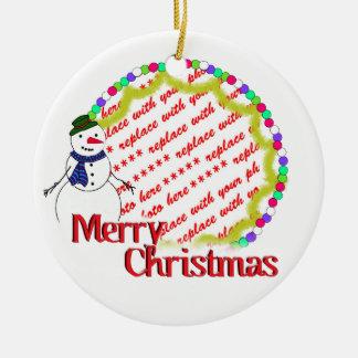 Niedlicher Snowman-WeihnachtsFoto-Rahmen Keramik Ornament