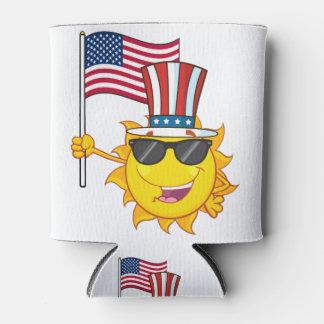 Niedlicher Sonne-Cartoon-Maskottchencharakter mit Dosenkühler