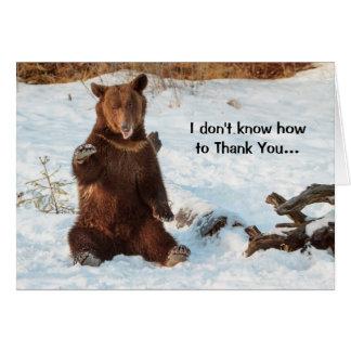 Niedlicher sprechenbär danken Ihnen Grußkarte