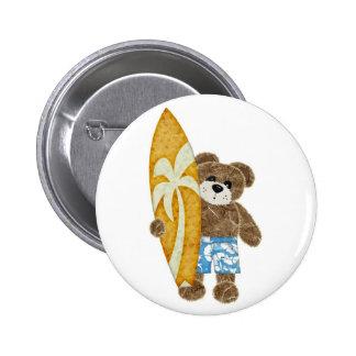 Niedlicher Surfer Teddybär Runder Button 5,7 Cm