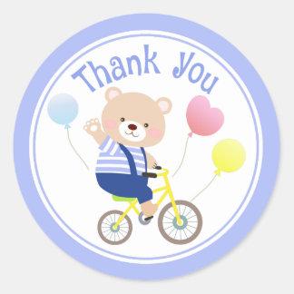 Niedlicher Teddy betreffen Fahrrad danken Ihnen Runder Aufkleber